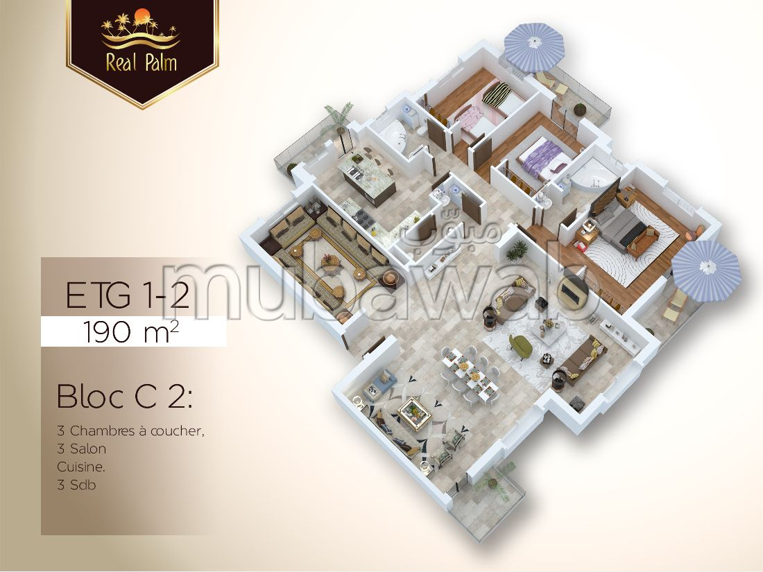 Find an apartment to buy in Du Golf. Surface area 190.0 m². Green areas, Parking spaces for cars.