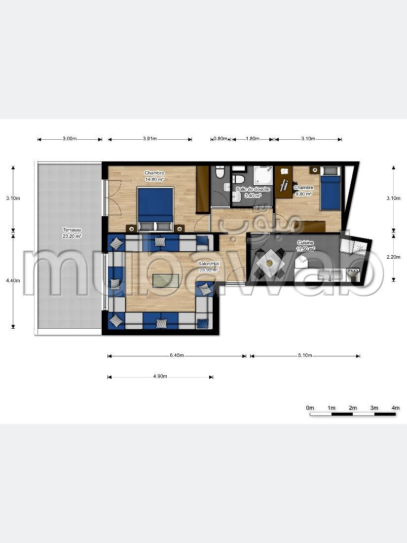 Apartment for sale. Total area 82.0 m². With lift and terrace.