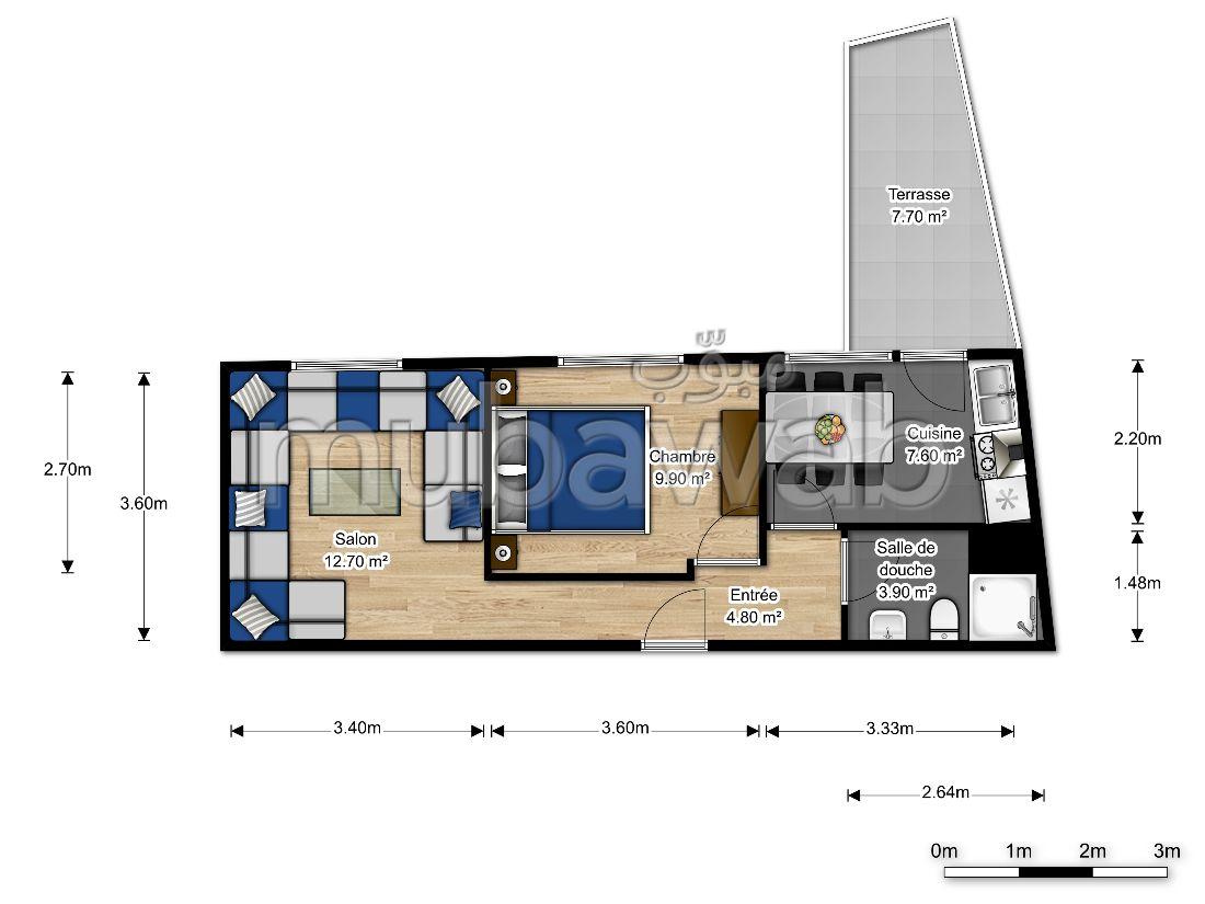 شقة جميلة للبيع بالقنيطرة. 2 قطع مريحة. مصعد.