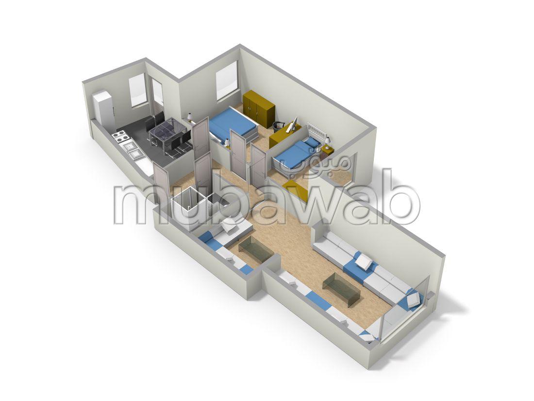 شقة جميلة للبيع بالقنيطرة. المساحة 83 م². مع مصعد وشرفة.