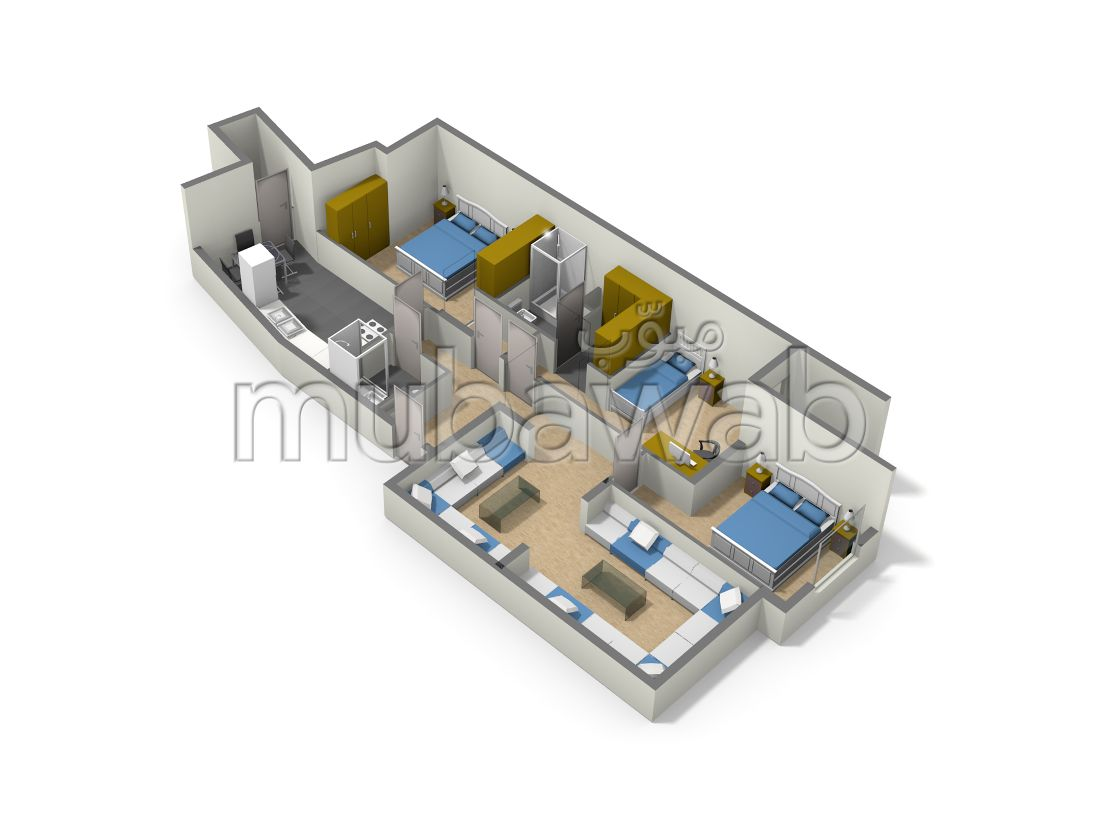 Sale of a lovely apartment. 3 rooms. Fitted kitchen.