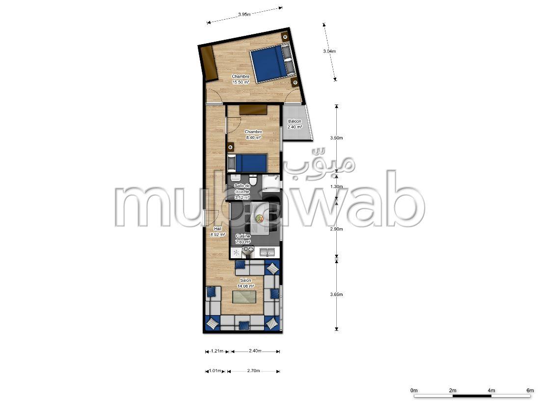 شقة للشراء بالقنيطرة. المساحة الإجمالية 68 م². مع مصعد وشرفة.