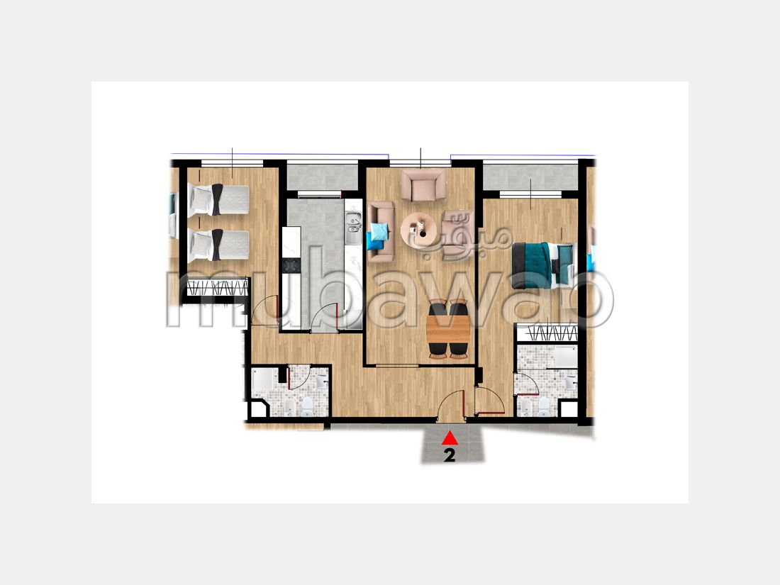 شقة للبيع بطنجة. المساحة الكلية 91 م². حديقة.