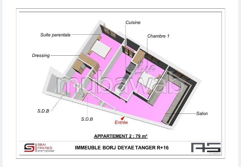 Apartment for sale in De La Plage. Large area 79.0 m². No Lift, Balcony.