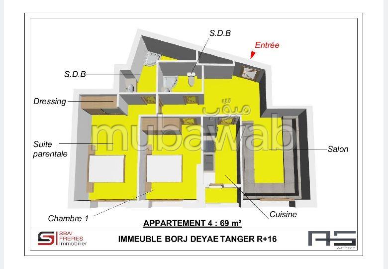 Sell apartment in De La Plage. Dimension 69 m². No Lift, Large terrace.