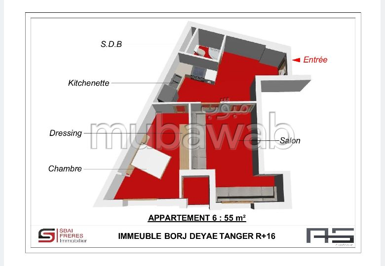 Sell apartment in De La Plage. 2 Living room. With lift and terrace.
