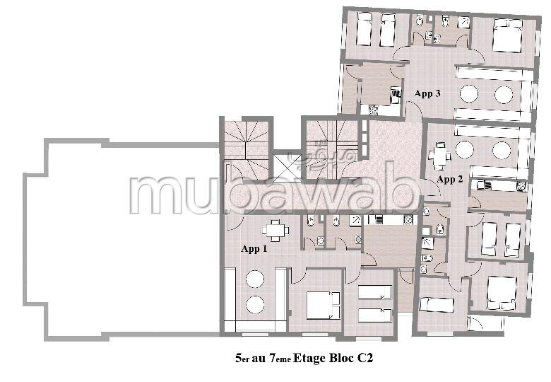 Superbe appartement à vendre à Beni Said. 2 chambres. Avec ascenseur et espace vert.