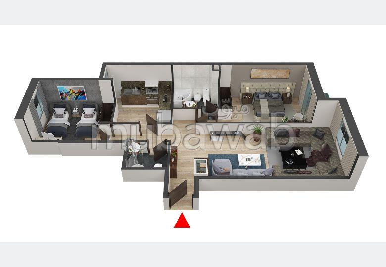 شقة للبيع بسيدي مومن. المساحة الإجمالية 94.0 م². أماكن لوقوف السيارات وحديقة جميلة.