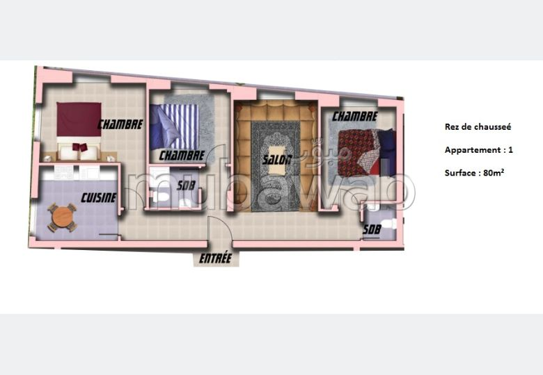 شقة رائعة للبيع بطنجة. المساحة 80 م².