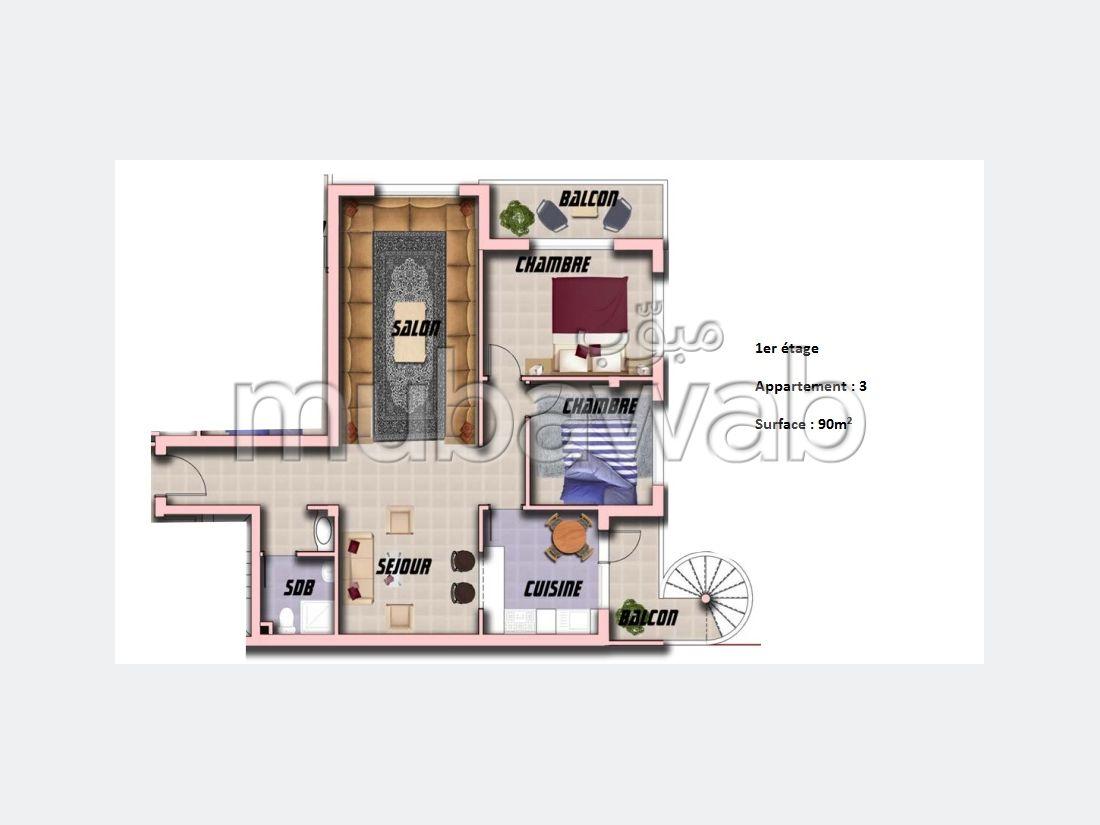 بيع شقة بطنجة. المساحة 90 م².