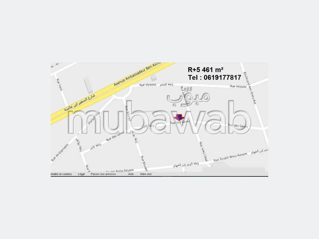 أرض للبيع بالدارالبيضاء. المساحة الكلية 460.0 م².