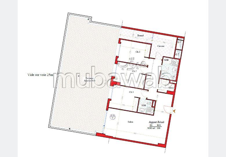 شقة رائعة للبيع ب طنجة سيتي سنتر. المساحة الكلية 195 م².