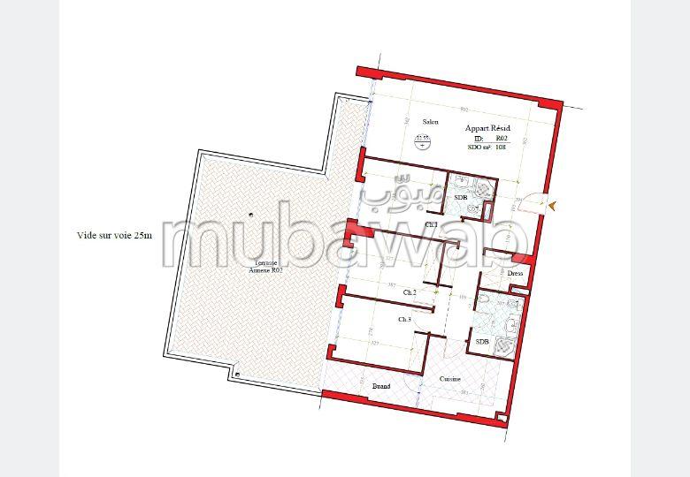 شقة رائعة للبيع ب طنجة سيتي سنتر. 4 قطع.