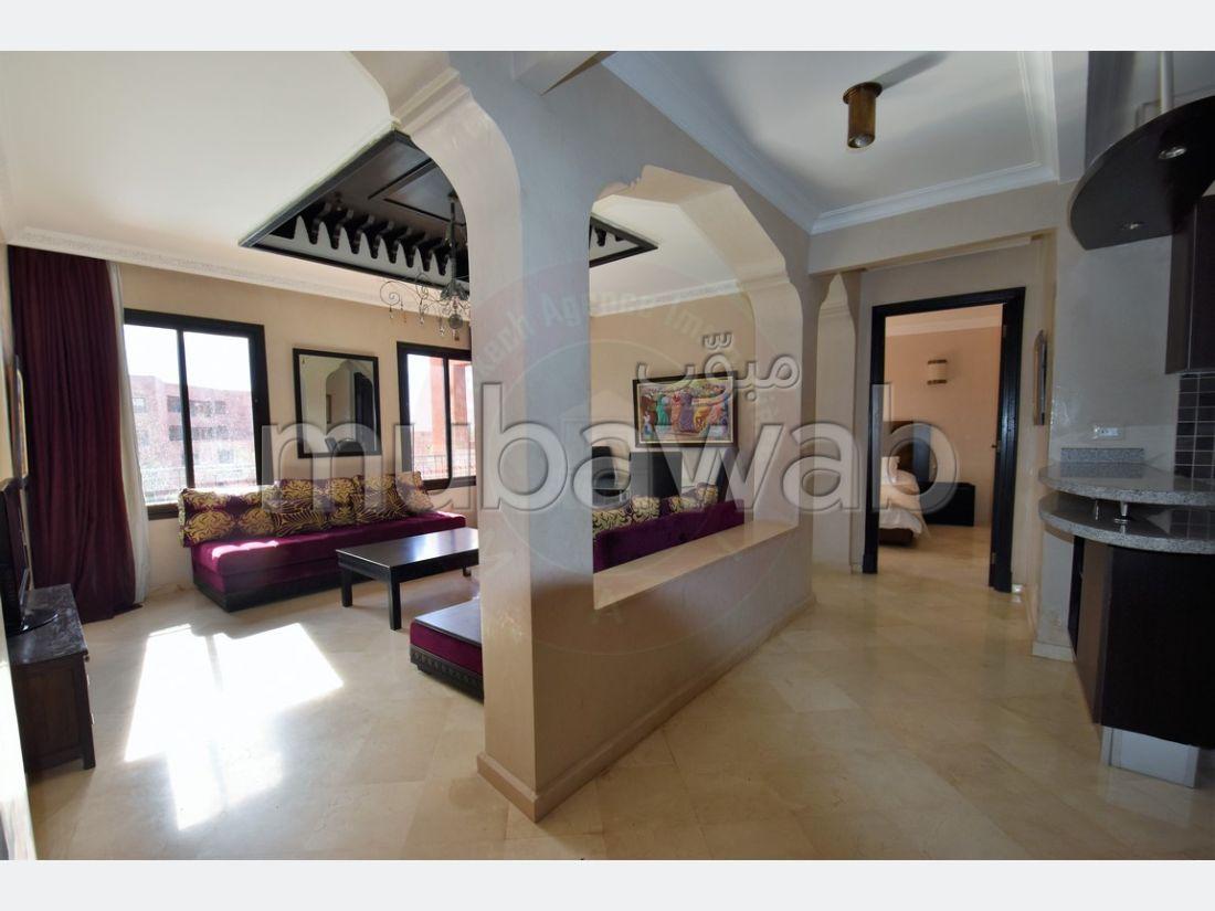 Magnífico piso en venta en Ennakhil (Palmeraie). Pequeña superficie 90 m². Servicio de conserjería, aire condicionado.
