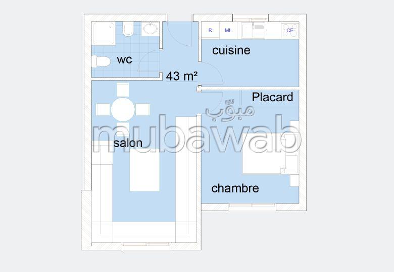 Bonito piso en venta en Tanger City Center. Pequeña superficie 43 m².