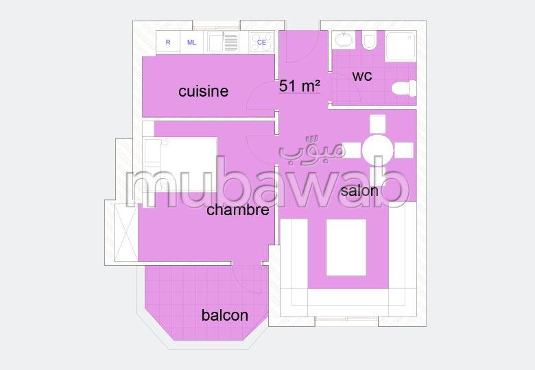 شقة رائعة للبيع ب طنجة سيتي سنتر. المساحة 51 م².