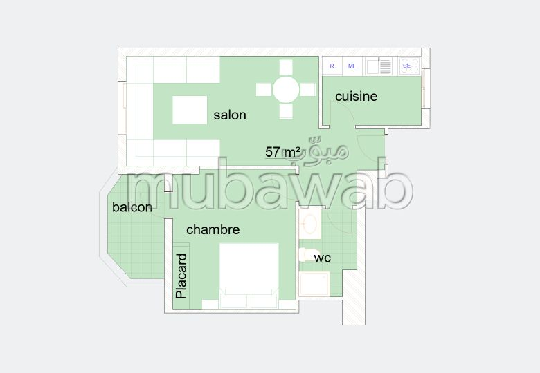Sale of a lovely apartment in Tanger City Center. 1 room.