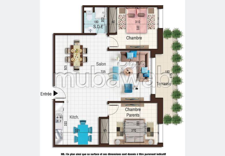 شقة رائعة للبيع ب الحمامات الشمالية. 2 غرف. منظر بحري استثنائي ، تدفئة مركزية.