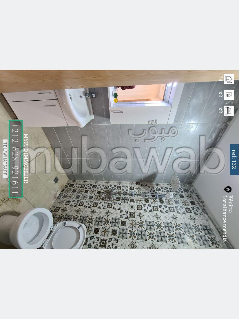شقة للشراء بالمهدية. المساحة الكلية 74 م². مطبخ مجهز.