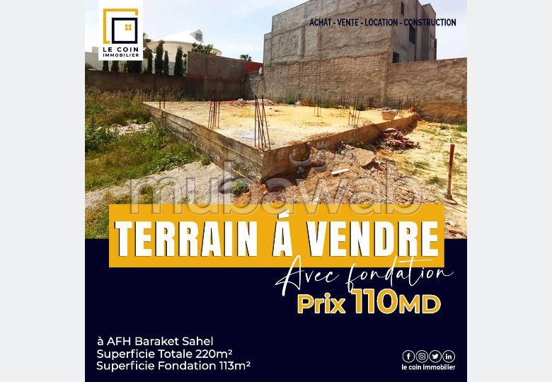 Terrain avec fondation, à AFH Barraket Sahel